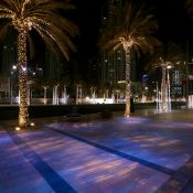 Emaar Boulevard round of Burj Khalifa , Downtown Dubai – United Arab Emirates – Lighting designer Umaya Lighting – Concept Light product CL PROFILE LED 60 ° with PalmTree fixed  customized and Gobo's